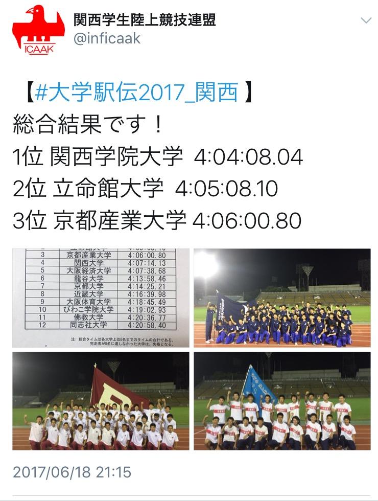 関西予選にて3位までで、秩父宮賜杯(伊勢駅伝)出場、2位までで出雲駅伝出場権獲得です。